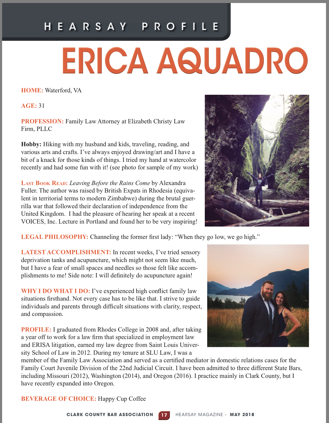 Erica Aquadro, Hearsay Magazine